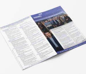 Pages extérieures du dépliant en A4 fermé pour la campagne électorale d'Agir Ensemble