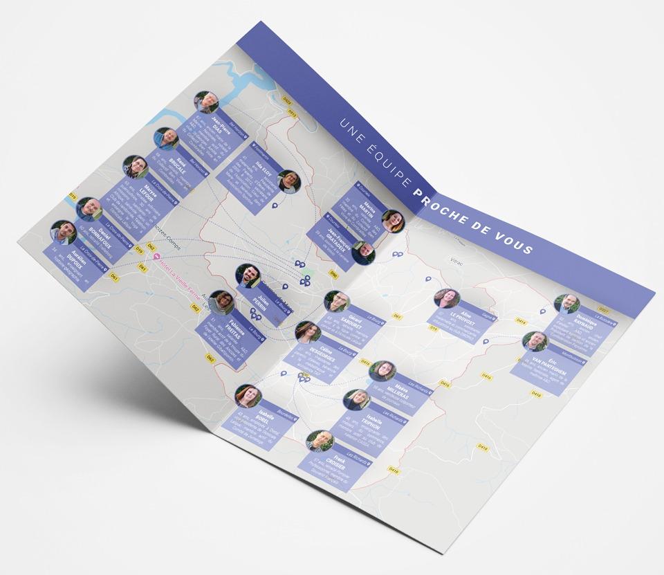 Pages intérieures du dépliant en A4 fermé pour la campagne électorale d'Agir Ensemble