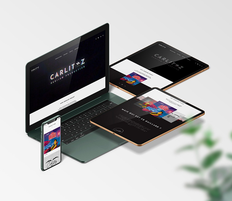 Site Internet responsif de Carlitoz développé par Com Trois Pommes