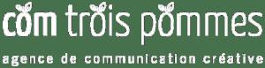Logo de Com Trois Pommes agence de communication créative en blanc