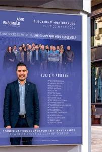 Affiche en A1 pour la campagne électorale d'Agir Ensemble