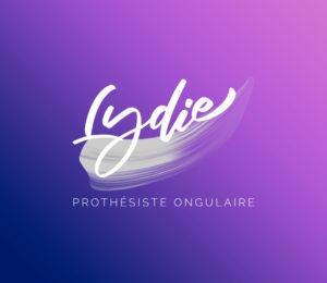 Fond dégradé de Com Trois Pommes avec le logo de Lydie
